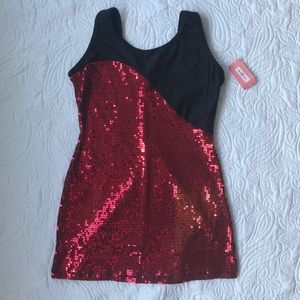 Gia Mia Red Black Sequin Dance Dress Costume SA